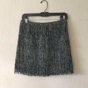 Metallic Fringe Mini Skirt